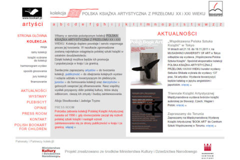 Strona www Sztuka Książki, Kolekcja